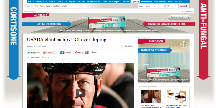 Lance, meet Cortisone. Coincidence?