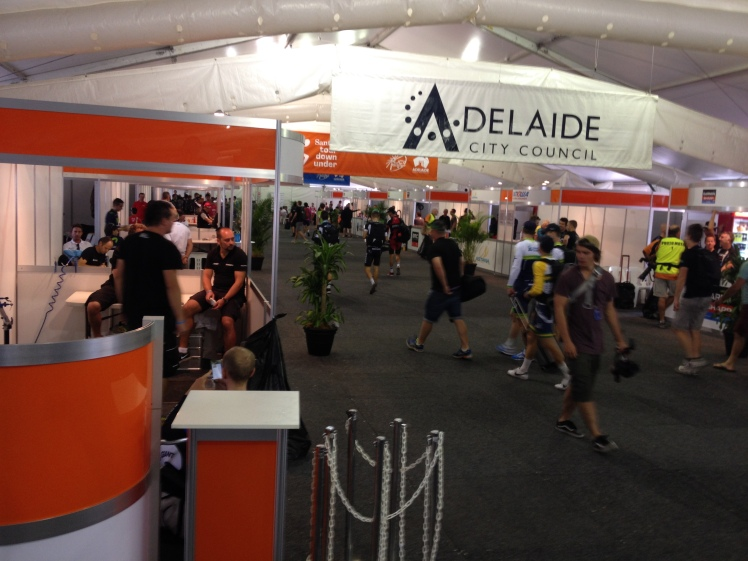The assembly area at Tour Village in the heart of Adelaide. Lots of people doing not very much.