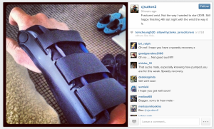 CJ Sutton fractured his wrist in a crash, before finishing 4th last night.