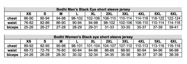 Sizing chart Bodhi webshop shirt