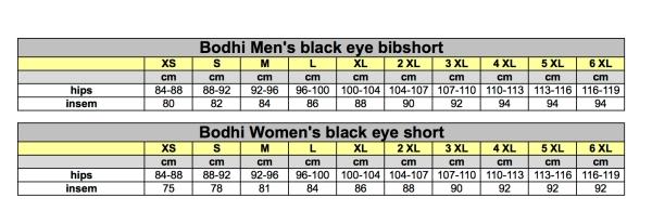 Sizing chart Bodhi webshop short