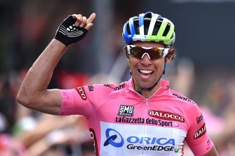 Cycling: 98th Tour of Italy 2015 / Stage 3 Arrival/ Michael MATTHEWS (Aus) Pink Leader Jersey/ Celebration Joie Vreugde/ Rapallo - Sestri Levante (136Km)/ Giro Tour Ronde van Italie / Rit Etape /© Tim De Waele